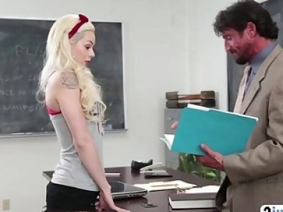 Petite blonde schoolgirl Elsa Jean gets pussy licked and fucked