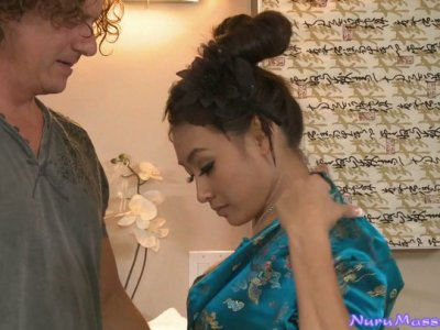 Mature American man spends nice time with sexy Asian Ariel B