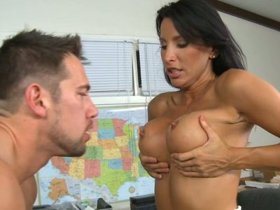Amazing busty brunette mommy Lezley Zen fucks doggystyle