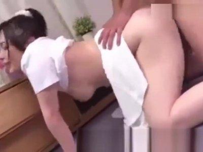 Japanese couple fuck in kitchen