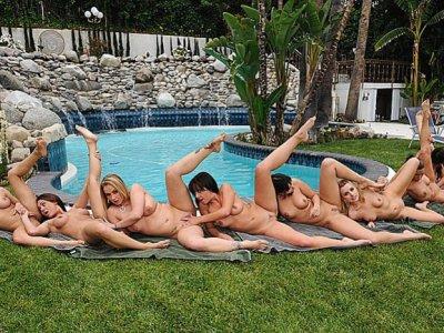 Nine lesbians have wild outdoor lesbian sex