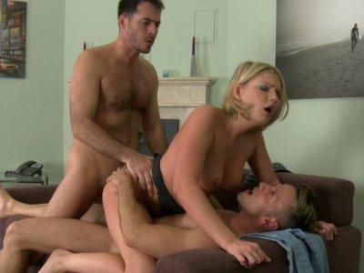 A bit plump blondie gets a double cock penetration