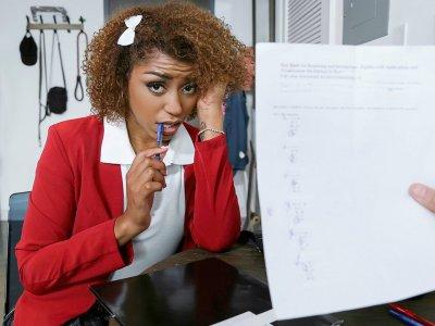 Hot ebony student Milu Blaze leaves her tutor speechless