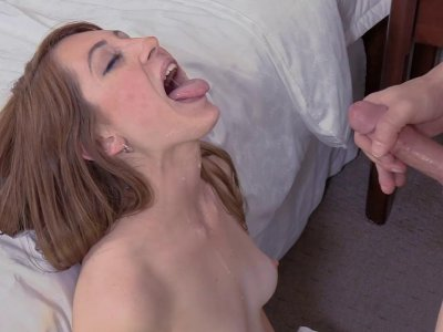 Teenie with small tits rides a dick and receives facial
