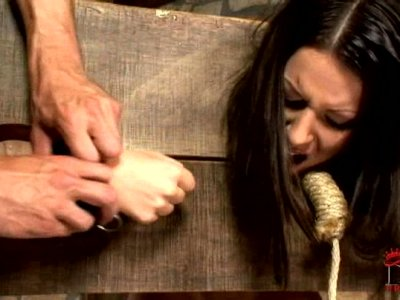 Brunette girl is punished harsh and whipped