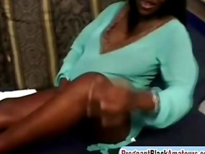 Pregnant Black Slut Gets Pussy Filled On Couch