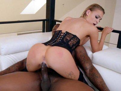 Blonde Emma Hix enjoys riding he big black boner