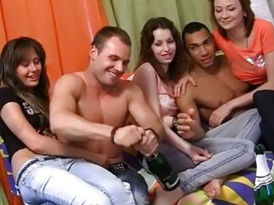 Naked dancing and wild group party sex