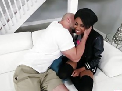 Sexy Ebony teen Brittney White slammed by a big cock in a hot interracial action