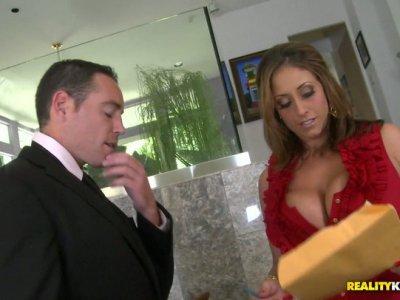 Busty brunette hugs her sex partner with her big assets