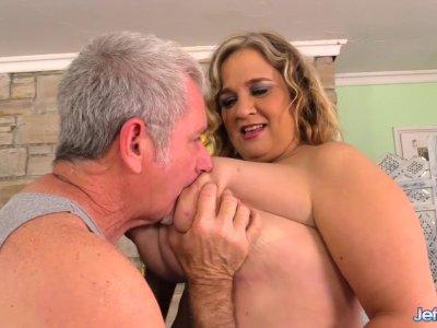 Mega Tits Mature Plumper Cami Cooper Stimulated with Massage and Vibrator